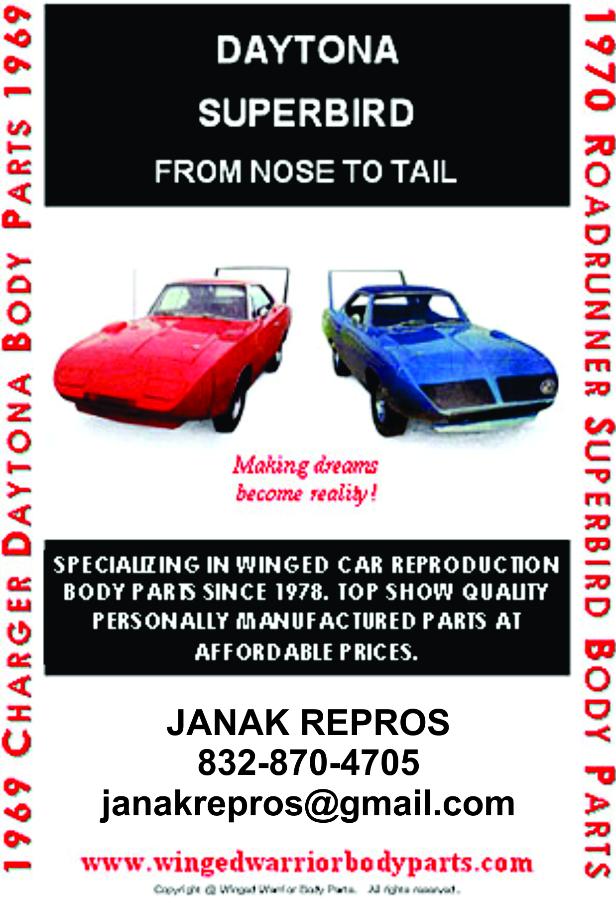 Custom Fabricated Wing Car Conversion Kit - Superbird and Daytona Body Parts by Janak Repros